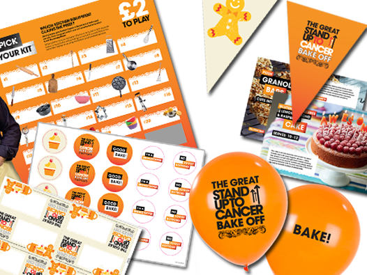 The Great Stand Up To Cancer Bake Off fundraising pack with balloons, sweepstake, bunting and information leaflet