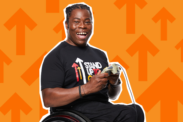 Ade Adepitan Stand Up To Cancer Stream Team