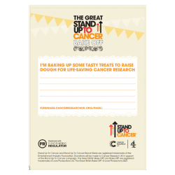 The Great Stand Up To Cancer Bake Off 2021 Invitations