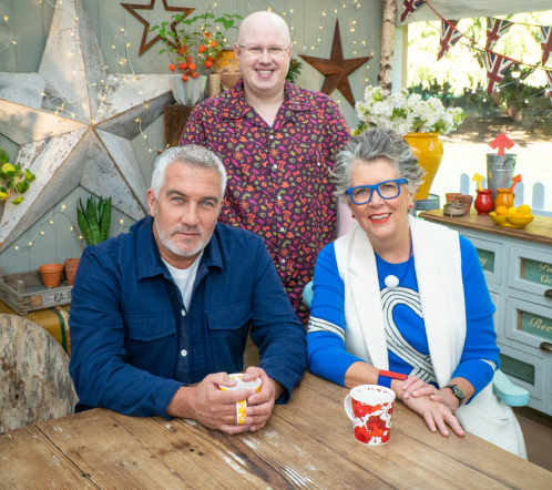 Paul Hollywood, Prue Leith and Matt Lucas in the Bake Off tent
