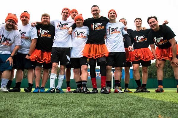 David and his football team wearing Stand Up To Cancer outfits