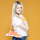 Edith Bowman with a pair of trainers