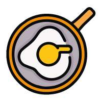Eggs in frying pan icon
