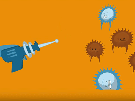 Animation showing cancer cells being frozen in their place to stop them spreading