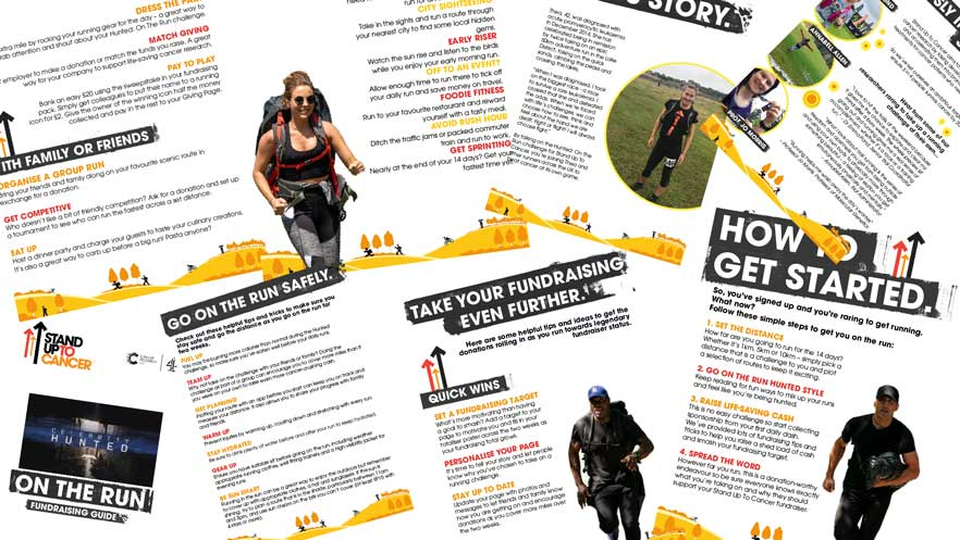 A collage of the Hunted fundraising pack from Stand Up To Cancer