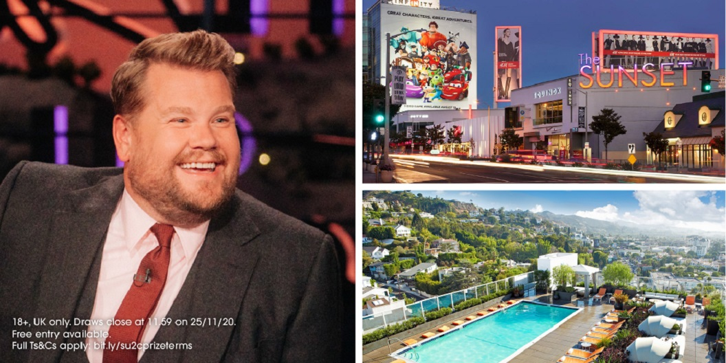 James Corden at the Late Late Show and the Andaz West Hollywood hotel rooftop pool