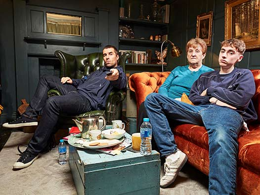 Liam Gallagher on the sofa with his mum and son for Celebrity Gogglebox