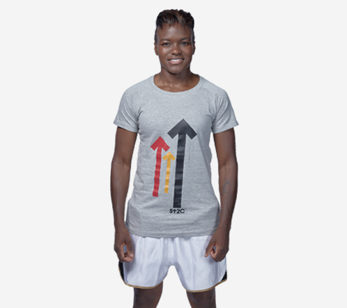 Nicola Adams wearing grey arrow t-shirt.