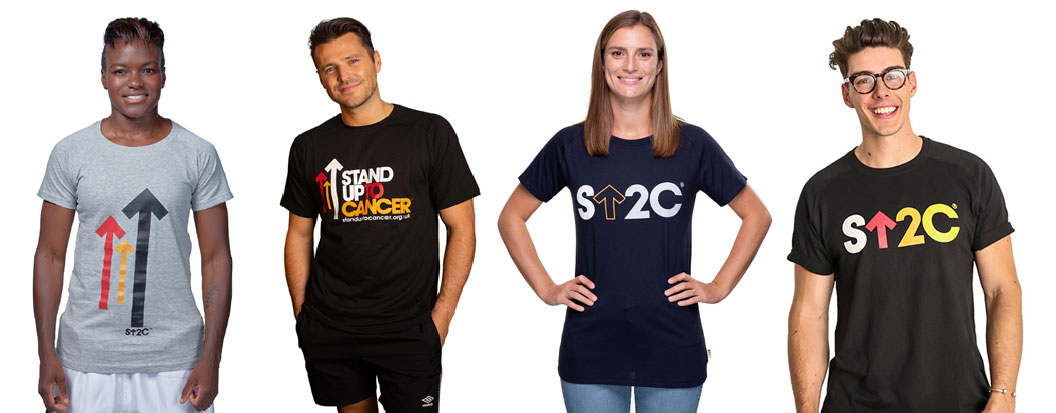 Four people wearing the Stand Up To Cancer merchandise, including Mark Wright and Nicola Adams
