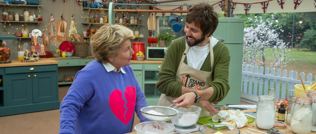 Sandi Toksvig and James Buckley in the Bake Off tent