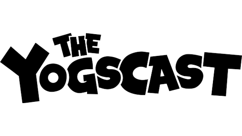 The Yogscast logo in black on a white background