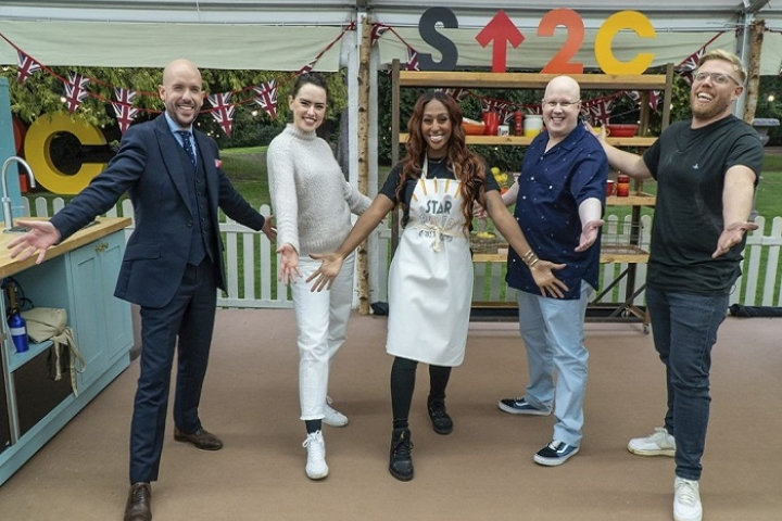 Alexandra Burke and celebrity bakers in the Bake Off tent