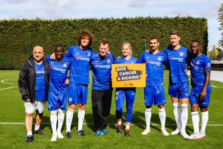 Chelsea legends with Katie Chapman and Omid Djalili