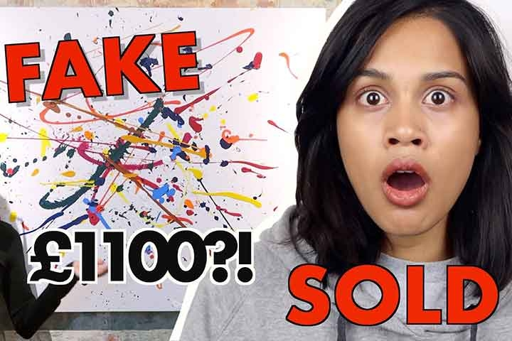Click for Taz stood in front of a piece of art, with the words, 'Fake,' '£1100,' and 'Sold?'