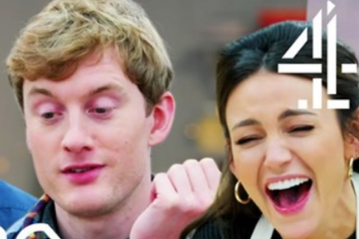 James Acaster and Michelle Keegan laughing during The Great Stand Up To Cancer Bake Off 2019