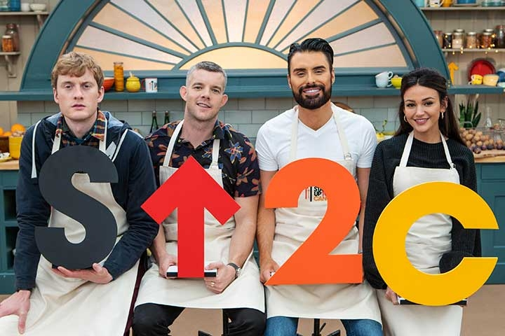 James Acaster-Michelle Keegan, Rylan Clarke Neal and Russell Tovey hold an SU2C sign