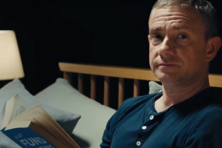 Martin Freeman talking to camera in Stand Up To Cancer film