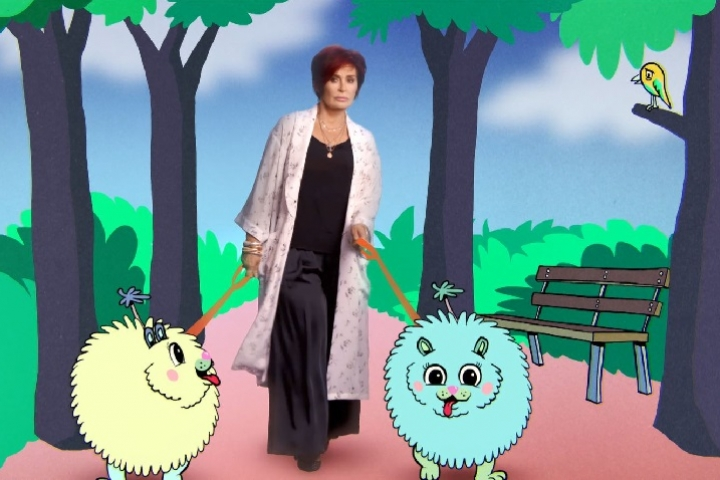 Sharon Osbourne with animated dogs