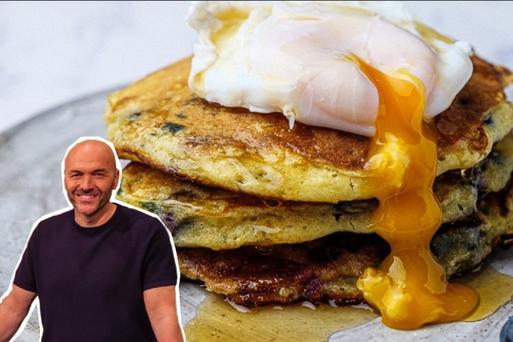 Blueberry pancakes with a cut out of Simon Rimmer in front