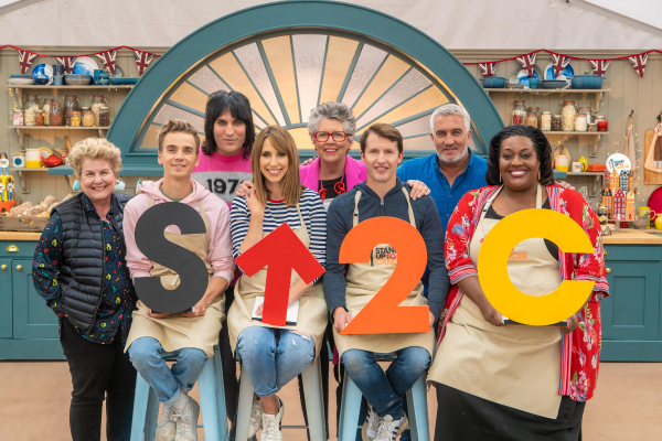 The Bake Off hosts, judges and celebs in the bake off tent