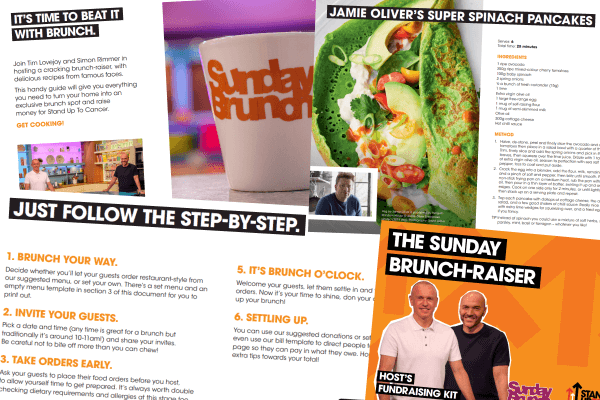 A collage of the Sunday Brunch fundraising pack showing the recipes and tips inside