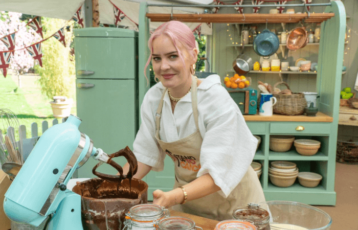 Anne-Marie in The Great Stand Up To Cancer Bake Off tent