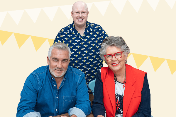 The Great SU2C Bake Off judges Paul Hollywood, Prue Leith and host Matt Lucas