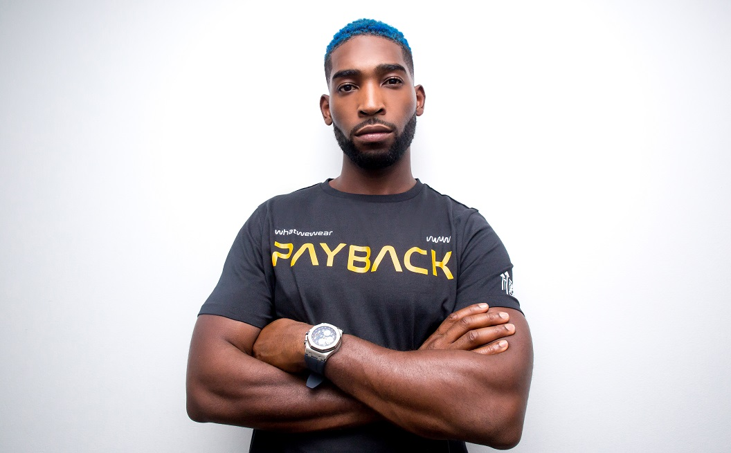 Tinie Tempah wearing Payback T-shirt